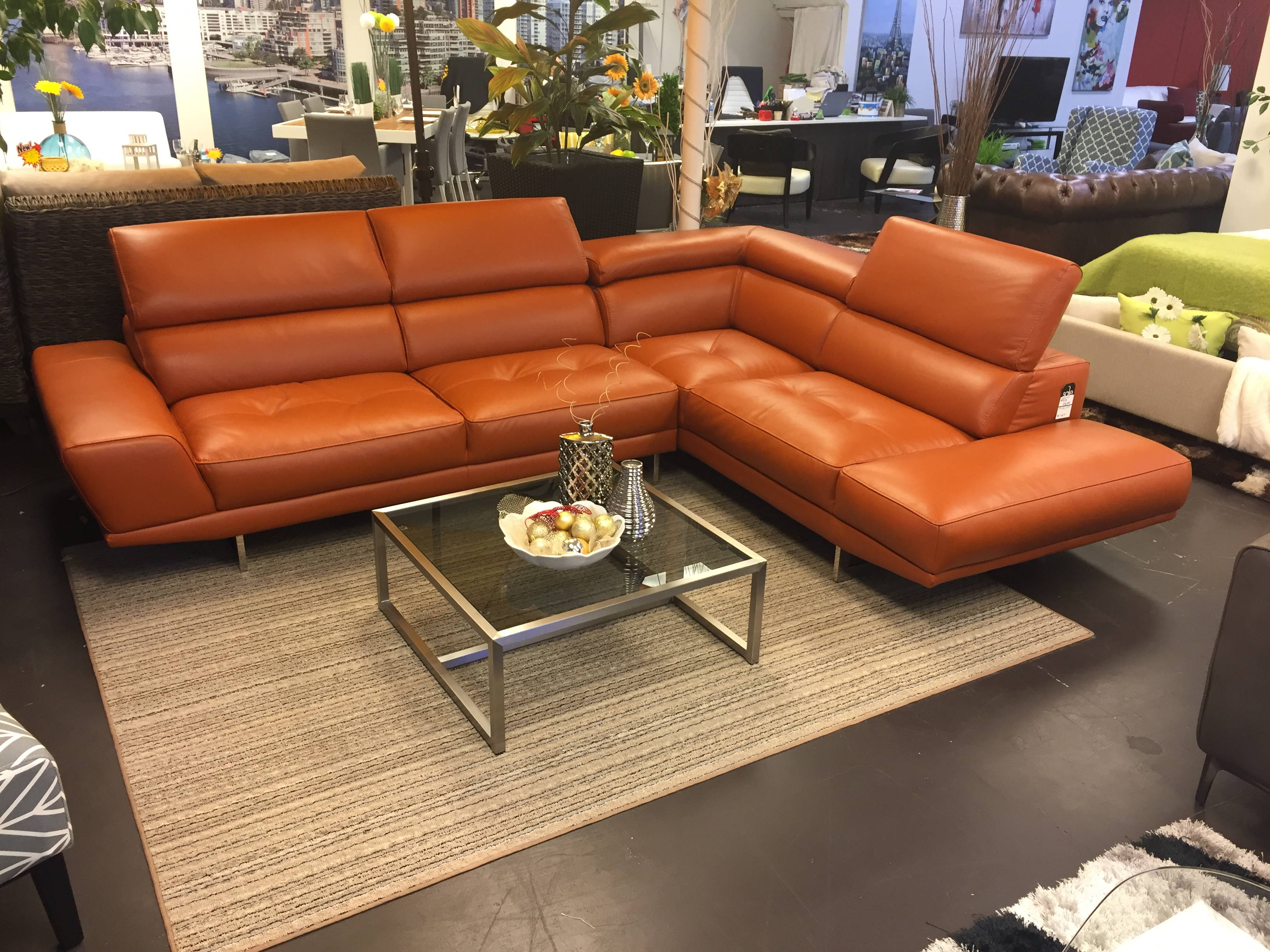 Modern Sofa Vancouver the Giovanni shown in Orange Leather