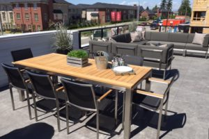 Patio Furniture Displayed with Teak Wood Dining Table