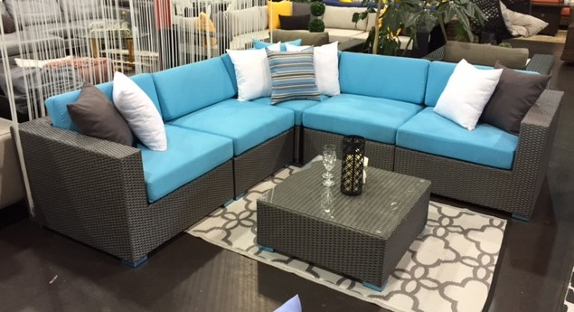 The Kitsilano is the most popular Patio Sectional that Vancouver Sofa carries, shown in grey wicker with aqua blue cushions