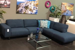 Fabric Sectional Sofa by Kuka, the 5603 is very Comfy and Looks Great in Blue Fabric