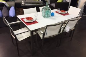 Outdoor Dining Table shown in White Frosted Glass Top