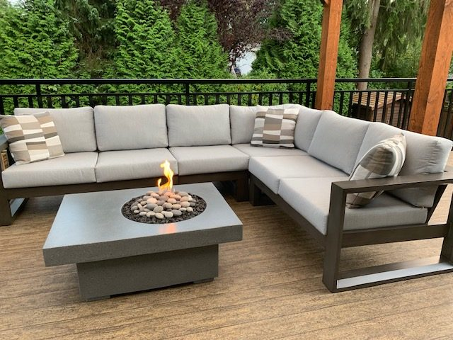 Element patio sectional with fire table.