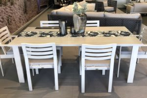 Vancouver Patio Furniture Featuring the Element Dining Table Ratana shown in White Color
