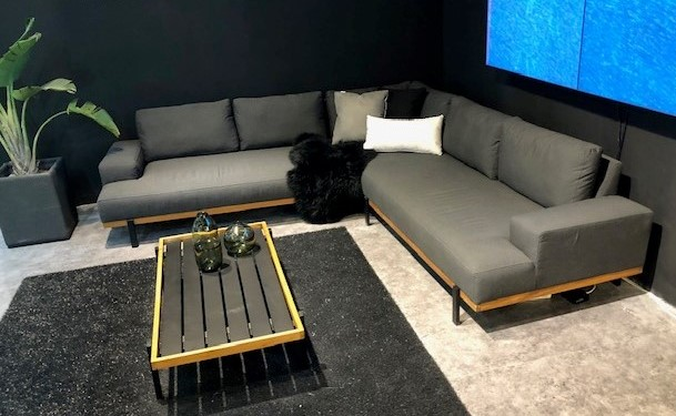 Dark Grey fabrc sectional with coffee table & teak frame by Divano Lounge.