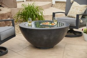 Black Cove 30 fire bowl with burner lid on.