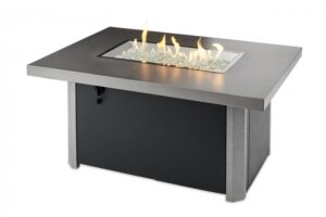 caden gas fire table with flames on.