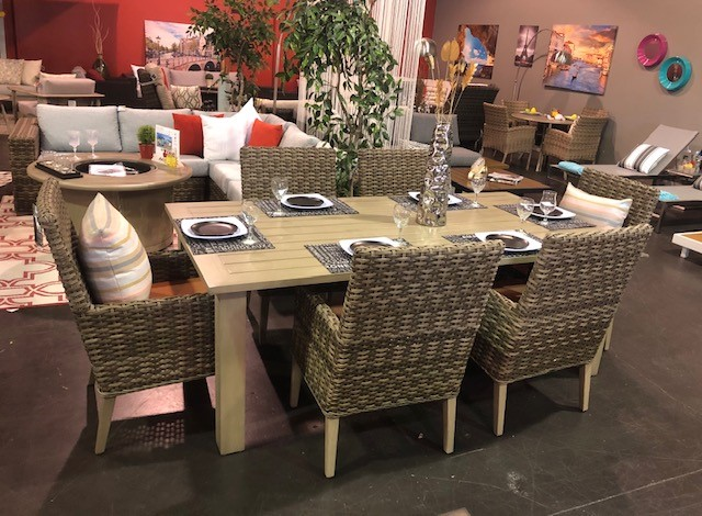 nottingham dining arm chairs with limo patio table.