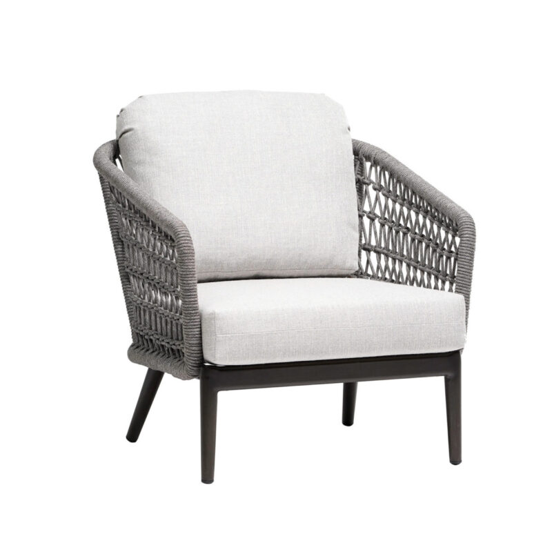 The Ratana Poinciana collection shows the club chair with white cushions.