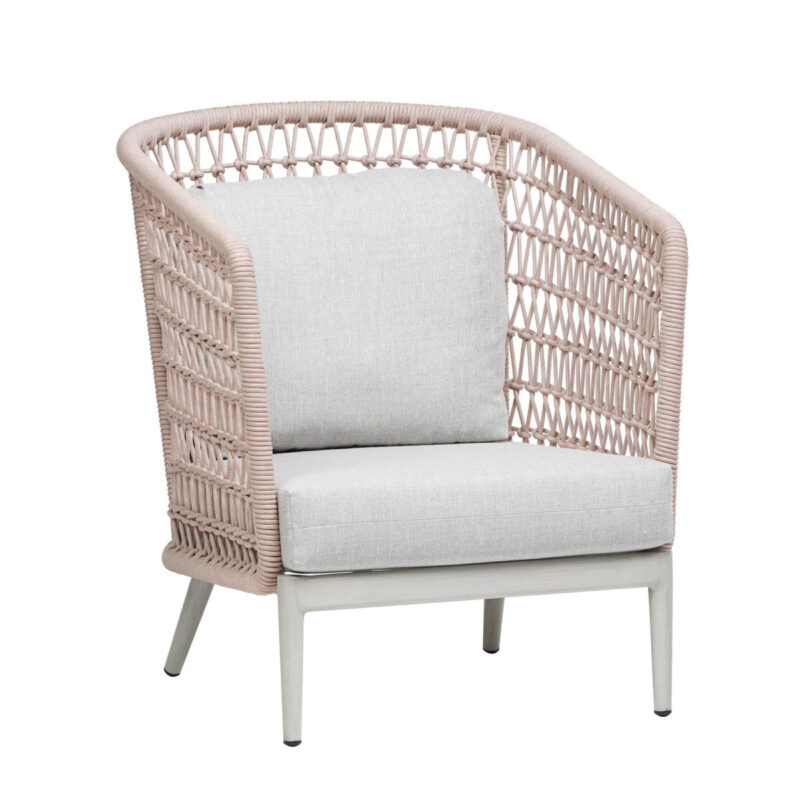 The Poinciana high back club chair in pink rope.