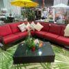 Cape Town sectional with red cushions.