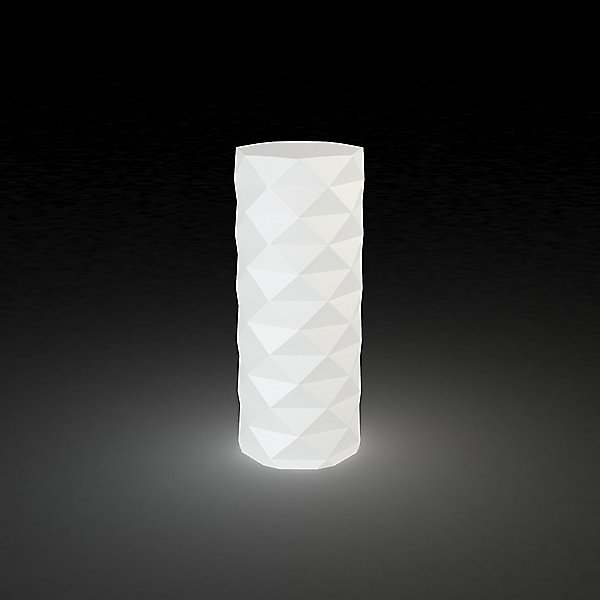 The marquis lamp by vondom lit up in white.